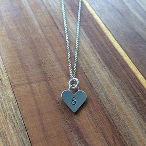 Heart Necklace with S Initial Stamp